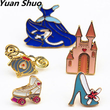 Europe United States jewelry wholesale manufacturer selling Cinderella fairy tale/castle/crown/skirt /pumpkin Enamel girl brooch
