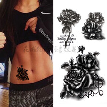 Black 3D big flower english letter Body Art Waterproof Temporary Sexy rose For Woman Flash Tattoo Stickers 10*20CM KD735(China)