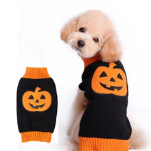 Pet Clothes Fashion Dog Knitted Sweater Teddy Gold Small Medium Large Dog Halloween Pumpkin Pet Sweater Spring New Clothes PD87