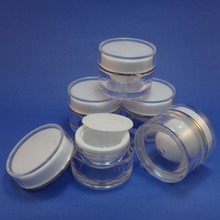 5 Pcs 10g Plastic Jar Make up Cream Cosmetic Double Wall Container Case for Skin Care Products (AY190P(10)-C=5 pcs)