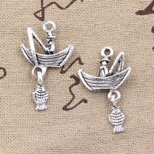 4pcs Charms fisherman fishing boat 31*19mm Antique Making pendant fit,Vintage Tibetan Silver,DIY bracelet necklace(China)
