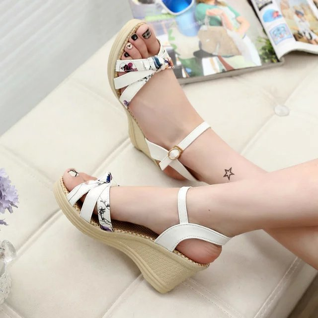 2017 New Summer Sweet Korean Style Wedges Waterproof High-heeled Casual Shoes Female Fish Mouth Slope Women Sandals Shoes<br><br>Aliexpress
