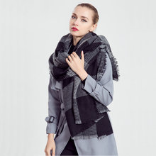 2017 Cachecol Xadrez Luxury Brand Checkered Scarf Big Winter Jacquard Pashmina Shawl Fringe Grid Equestrian Scarf Wrap HCG YG553(China)