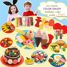 5COLORs Mini 3d modeling color clay plasticine color clay series icecream hamburger sushi bithday cak sandwich colored dough toy(China)