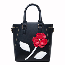 SFG HOUSE Fashion Flower Messenger Bags Tote Bag Black White 2017 Women Shoulder Bags Girls Handbag Casual PU Leather  Crossbody