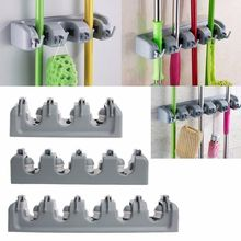 5 Position Mop Holder Hanger Home Kitchen Storage Broom Organizer Plastic Wall Mounted Storage Mop Broom Holder(China)