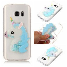 YiKELO Fashion Girl Unicorn Quicksand Liquid Soft Silicone Case For Samsung Galaxy S7 S8 Plus A3 A5 A7 J3 J5 J7 2017 2016 Cover(China)