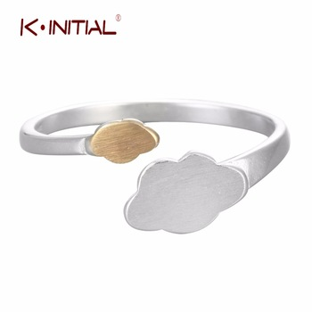 1Pcs New 925 Silver Geometric Clounds Rings Open Gold Cloud Ring For Girl Women Adjust Gift Fashion Statement Jewelry Two Colors