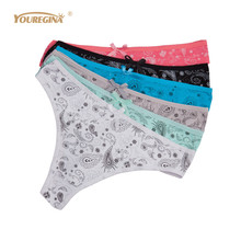 Buy YOUREGINA Women Thongs G Strings Sexy Cotton Panties Ladies Underwear Tanga Mujer String Femme Lingerie 6pcs/lot