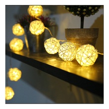 10 LED Color Rattan Ball String Fairy Lights For Xmas Wedding Party Hot holiday lighting string drop ship Factory Direct prices