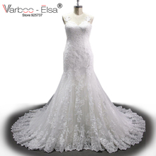 VARBOO_ELSA Real Sample V Neck Applique Lace Wedding Dress 2017White Sexy See through Back Wedding Dress Mermaid Robe De Mariage(China)