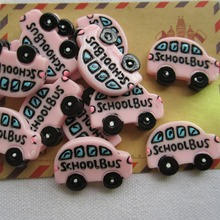 Rena!! Min.order $6 (mix order),  Resin New School Bus for Crafts Making, Phone Deco, DIY(30*22mm), Free Shipping