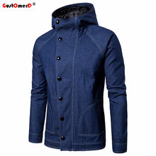 GustOmerD Fashion Autumn Winter Jackets Men Jeans Jacket Solid Color Slim Fit Hooded Jackets Men Outwear Casual Bomber Jacket(China)