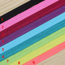5/8'' Free shipping Fold Over Elastic FOE solid color headband headwear hair band diy decoration wholesale OEM B342