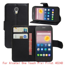 For Alcatel One Touch Pixi First 4024D Case PU Leather Case Cover For Alcatel 4024D Flip Protective Cell Phone Cases(China)