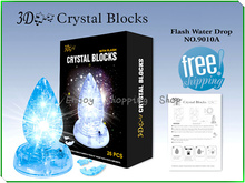DIY Water-drop with light cubic fun 3d puzzle crystal model building brinquedos educativos educational kids toys for children(China)