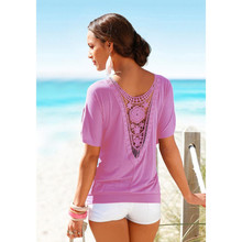 Women Sexy 2017 Summer Beach Tshirt Ladies Elegant Tops backless Women Summer Lace Short Sleeve Casual Tops T-Shirt S/XL(China)