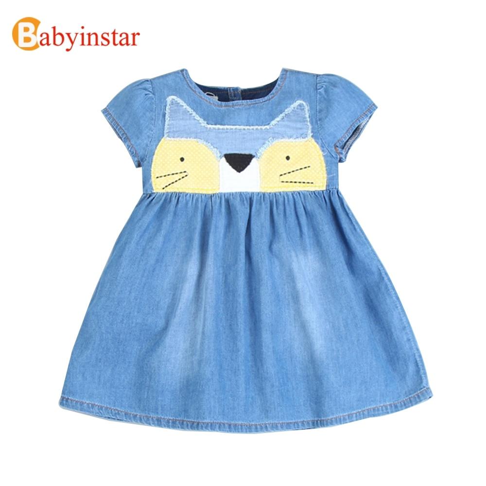 Babyinstar Cartoon Cat Childrens Dress for Girl Summer Denim Dress Good Quality Baby Costume Casual Kids Dresses 2017 New<br><br>Aliexpress