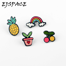 Fashion 4PCS/SET Cartoon Pineapple Rainbow Cherry Potted Plant Charm Costume Brooches Pins Accessories for Cartoon Brooch Badge
