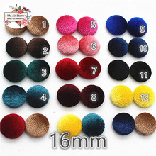 50pcs mix color Flatback cordur Fabric Covered round Buttons Home Garden Crafts Cabochon Scrapbooking Button 16mm