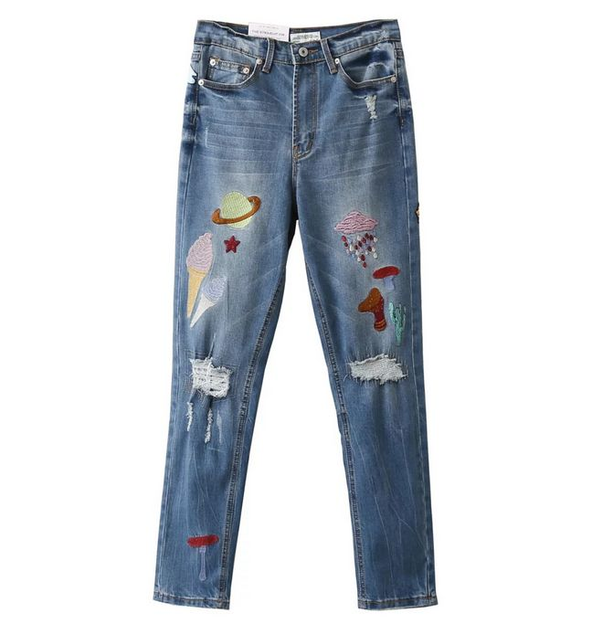 Fashion 2017 Women School Style Zipper Pocket Blue Denim Jeans Cartoon Print Ripped Casual Streetwear Pants Plus SizeОдежда и ак�е��уары<br><br><br>Aliexpress