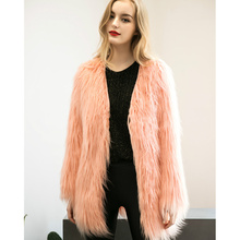 european style women Artificial fur coat long sleeved dress woman floating fur jacket long hair fashion coat