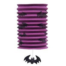 1 PCS Halloween Party Decorations Paper Lanterns LED Collapsible Cylinder Hanging Round Lantern(Purple)