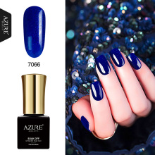 AZURE BEAUTY Diamond Gel Nail Polish Blue Gel Varnish Soak Off Shiny Sequins Hybrid Enamel Colorful 7ml Azure Nail Gel Polish(China)