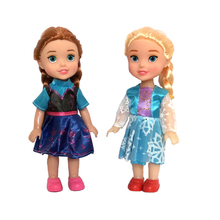 2pcs 16cm For Snow Queen Young Toddler Elsa and Anna Sisters Princess In Childhood Dolls Figure Toys Bonecas Figure Toy(China)