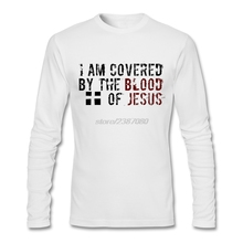 Full Mens Tees Shirt Fashion Youth I am Covered by the Blood of Jesus T Shirts Natural Cotton Customized T Shirt Software
