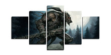 5 Panels Game World Of Warcraft Sword Beast Werewolf Modern Home Wall Decor Canvas Picture Art HD Print Painting Canvas Art
