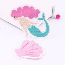 Embroidery Patches For Clothing 1Pcs Pink Mermaid Iron On Patches Punk Motif Applique DIY Accessory Clothes Stickers Cheaper
