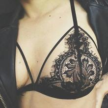 Bustier Crop Top Women Lace Hollow Out Translucent Underwear Strap Lingerie Top Croped Feminino Curto #2613