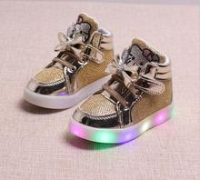 2016 New Top Quality Spring Autumn Winter Children's Sneakers Kids Shoes Chaussure Enfant Hello Kitty Girls Shoes With LED Light