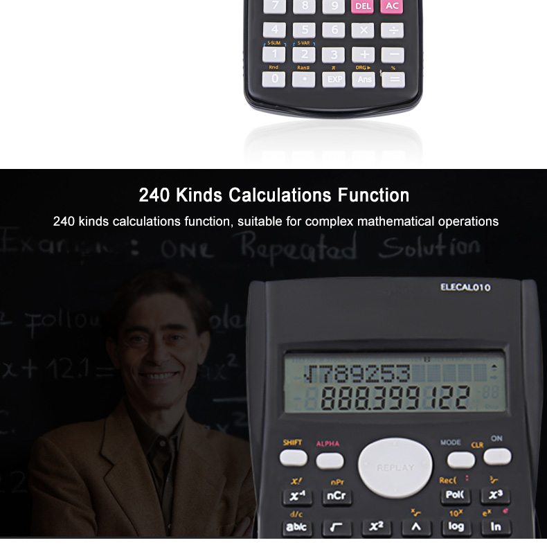 EASYIDEA Scientific Calculator 12 Digits Student Calculadora 240 Multi-function Calculator Cientifica 2 Line LCD Display 3