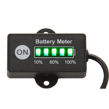 Free shipping LED 5 BAR display mini battery meter battery indicator 12/24V for motorcycle golf carts test voltage of battery(China)