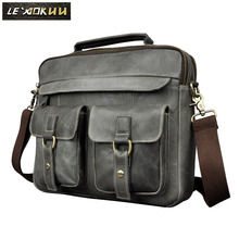 "Mens Real Leather Antique Style Tote Briefcase Business 13"" Laptop Cases Attache Portfolio Bag Tote B207g(China)"