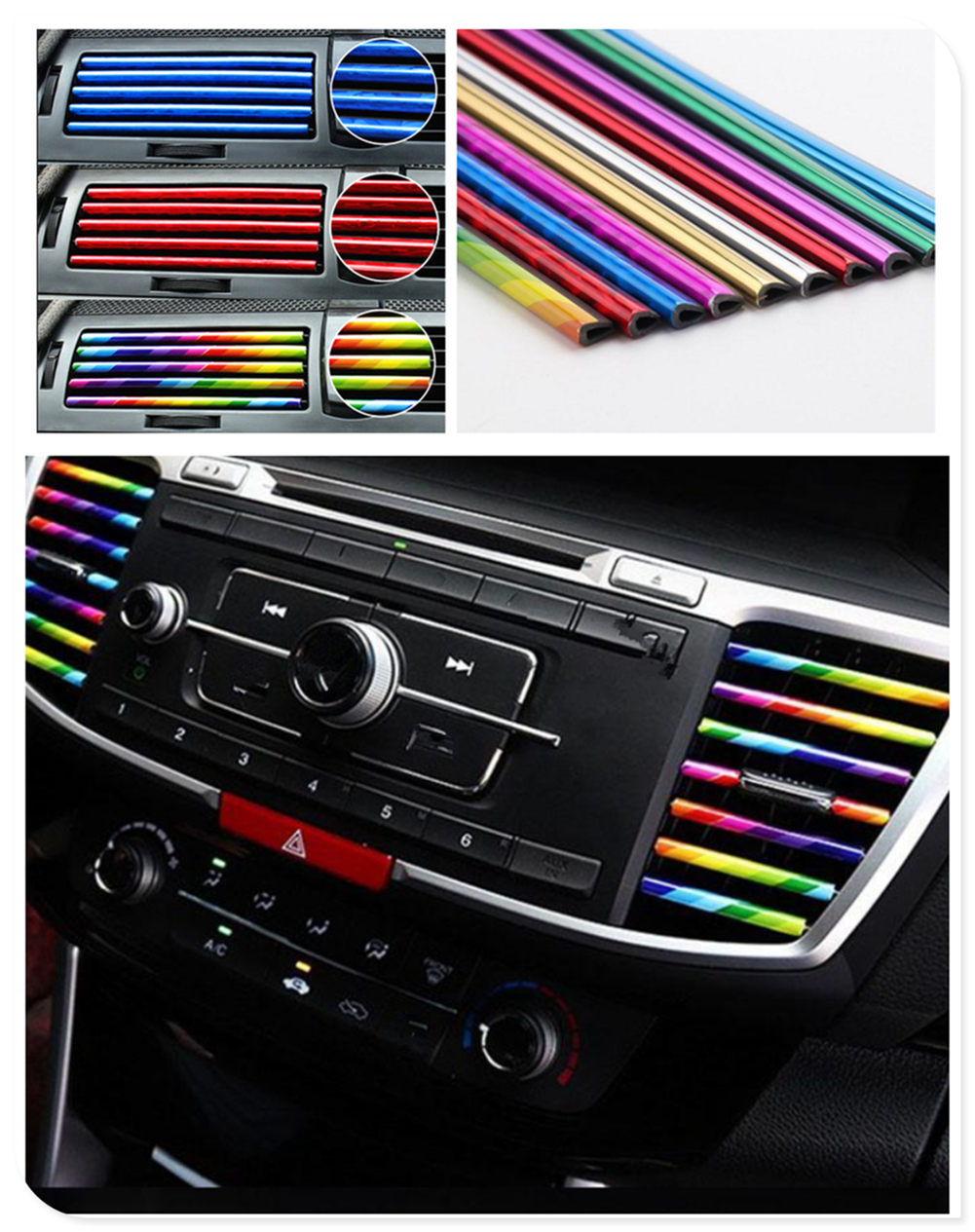 10pcs car shape conditioning air outlet decorative strip personality for BMW M8 M550i M550d M4 M3 M240i M140i 530i 128i