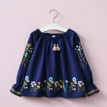 Hurave new European style girl kids dress embroidery children summer clothing long sleeve vestidos for infantil C19L4