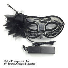 Lady Sexy Glowing Dark Lace Mask 10 Color Choice Neon Cold Light Led Strip Birthday Wedding Party Props Dc 3v Inverter