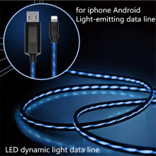 Flowing LED Light Micro USB Cable Adapter Charger Data Sync Cord Iphone Samsung Hauwei Android Tablet USB Charging Cable