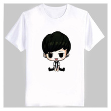 Kpop ikon member cartoon images printing white t shirt plus size fans supportive o neck short sleeve t-shirt bobby b.i top tees