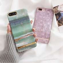 Fashion Emerald Marble pattern hard plastic cover cases for iphone 6 6S S plus 7 7plus 8 8plus X High quality purple phone case(China)