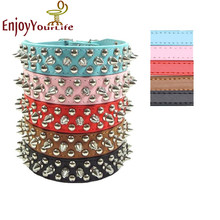 Hot Sale Fashion Pu Leather Studded Round Spikes and Small MushRoom Dog Pet Collar BullDog Necklace New