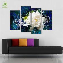 Abstract 4pcs Melamine Sponge Board Canvas Oil Painting White Flowers Framed Picture Home Wall Art Paint Decor For Living Room
