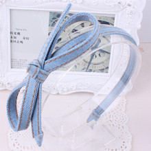 Designs Korea Elegant Denim Fabric Jeans Big Bow Knot Headband Hairband Women Hair Accessories(China)