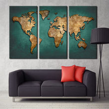 World Map Canvas Wall Art Home Decoration Vintage Dark Green Global Maps Paintings For Office Living Meeting Room Decor No Frame