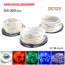 5M Led Strip IP20 SMD3528 5050 5630 300leds RGB LED Strip Ribbon Tape Light Warm Cool White Ceiling Bar Counter Cabinet Light