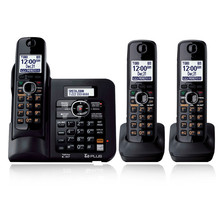 3 Handsets KX-TG6641 DECT 6.0 Digital wireless phone Black Cordless Phone with  Answering system