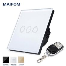 EU/UK RF433 Touch Switch Remote Control MAIFOM 3 Gang 1 Way Wall Light Switch With Crystal Glass Touch Panel Waterproof